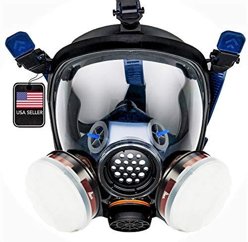 PT-100 Full Face Gas Mask & Organic Vapor Respirator- ASTM Tested - 1 Year Full Manufacturer Warranty - Eye Protection