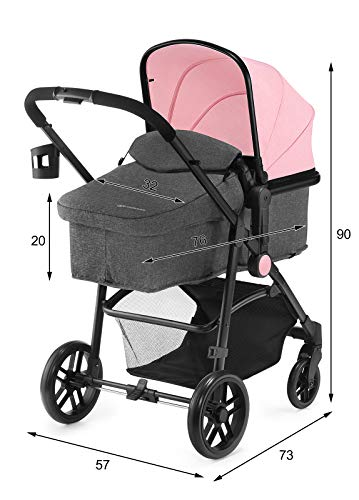 Kinderkraft Kinderwagen 3 in 1 JULI, Kinderwagenset, Kombikinderwagen, Buggy, Sportwagen, Tragewanne, Babyschale, 3 Sitzpositionen, Einkaufskorb, 5-Punkt-Sicherheitsgurt, Bequemer, Rosa