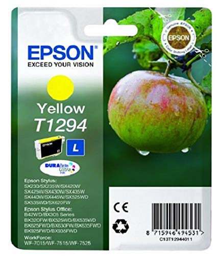 Epson Original T1294 Apfel Tinte (SX420W BX320FW SX620FW BX/SX525WD BX625FWD BX305FW B42WD BX925FWD BX635FWD BX535WD SX435/440W BX630FW SX235W WF7015 7515 7525 3010 3520 3540) gelb