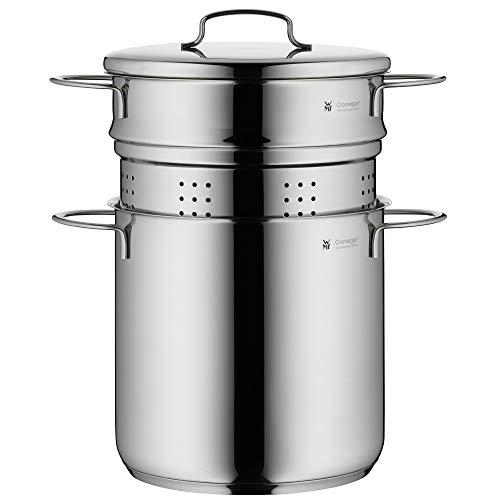 WMF Mini Nudeltopf mit Metalldeckel und Einsatz, klein, 18 cm, 3,0 l, Cromargan Edelstahl poliert, Induktion, stapelbar, ideal für kleine Portionen oder Singlehaushalte