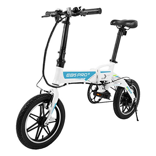 """SWAGTRON SWAGCYCLE EB5 Plus Folding Electric Bike with Removable Battery   City eBike with Pedals & Swappable 36V Battery   14"""" Wheels, 250W Motor, Built-in Carry Handle (White)"""
