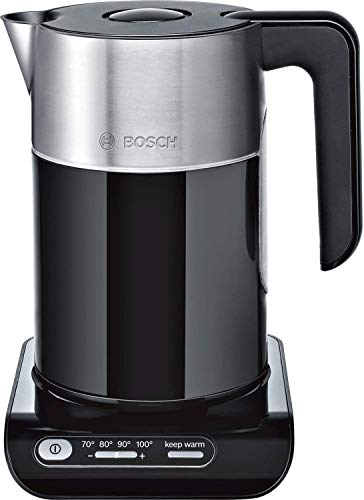 Bosch TWK8613P kabelloser Wasserkocher, Abschaltautomatik, Überhitzungsschutz, Temperaturwahl, Warmhaltefunktion, 1,5 L, 2400 W, schwarz