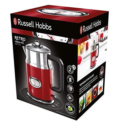 Russell Hobbs Wasserkocher, Retro rot, 1,7l, 2400W, Schnellkochfunktion, Wassertemperaturanzeige im Retrodesign, Füllmengenmarkierung, optimierte Ausgusstülle, Vintage Teekocher 21670-70
