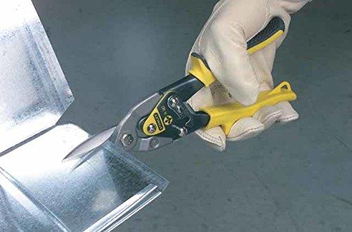Stanley Blechschere Maxsteel (gerade, 300 mm Länge, Bi-Material Kunststoffhandgriff, chromveredelt, Einhandbedienung) gelb, 2-14-566