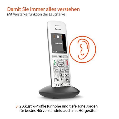 Gigaset E370HX Universal-Mobilteil – Schnurloses IP-Telefon (zum Anschluss an Fritzbox oder Cat-iq Router – sichere Bedienung dank großer Tasten, SOS-Funktion und großem Farbdisplay) silber-grau