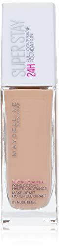 Maybelline New York Make Up, Super Stay 24h Make-Up, Flüssige, langanhaltende Foundation, Nr. 21 Nude, 30 ml