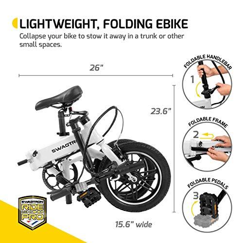 SWAGTRON Swagcycle EB5 Lightweight & Aluminum Folding Ebike with Pedals, Black, 58cm/Medium