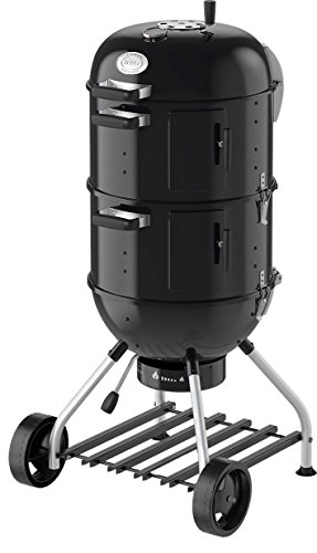 R?sle Smoker No. 1 F50-S, Stahl schwarz, 69 x 68 x 136 cm, als Kohlegrill verwendbar, Deckelscharnier, integrierter Wasserbeh?lter (7 l) fr gleichbleibende Temperatur, 25009