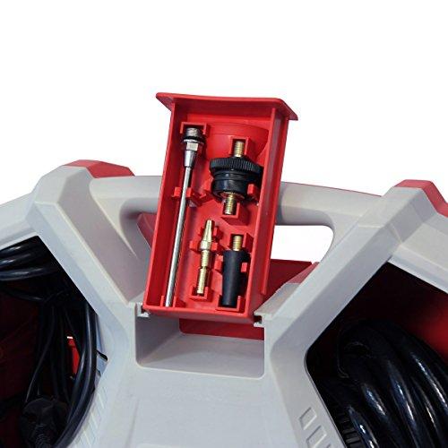 Dino KRAFTPAKET Kompressor 230V 190 L/min 8-Bar 1.5 PS 1100 W Tragbarer Druckluft Kompressor mit Ausblaspistole Reifenfüllmesser Adapterset (9-teilig mit Reifenadapter,Ballnadel,Luftmatratzenadapter)