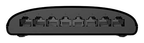 D-Link DGS-1008D 8-Port Gigabit Switch Desktop (10/100/1000 Mbit/s, bis zu 2000 Mbit/s pro Port im Full-Duplex-Modus, lüfterlos) ,schwarz
