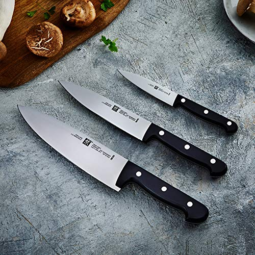 ZWILLING Messer-Set, 3-tlg., Spick-/Garniermesser, Kochmesser, Fleischmesser, Rostfreier Spezialstahl/Kunststoff-Griff, Twin Chef