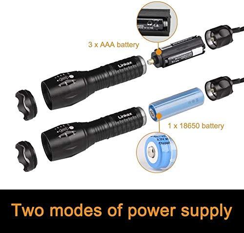 Linkax LED Taschenlampe Taktische Taschenlampe Superhell 800 Lumen Zoombar Taschenlampen LED Handlampe mit 5 Modi für Kinder Outdoor Camping Wandern inklusive 3 AAA Batterie