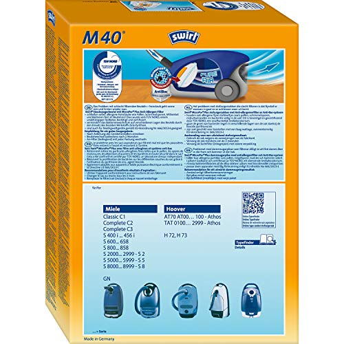 Swirl M 40 MicroPor Plus Staubsaugerbeutel für Miele Staubsauger | Anti-Allergen-Filter| Dauerhaft hohe Saugleistung | 4er Pack inkl. 1 Filter