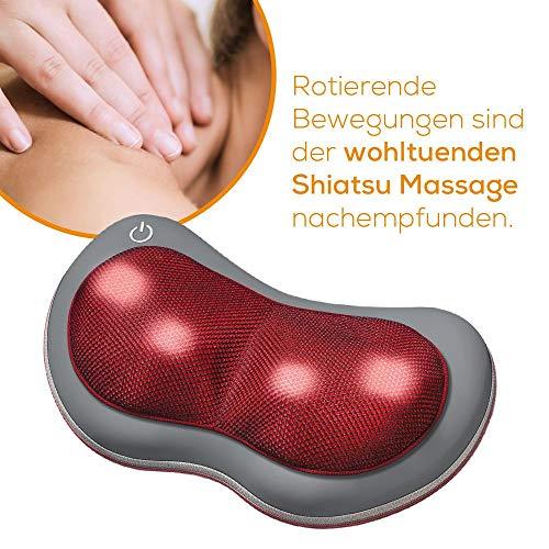 Beurer MG 149 Massagekissen, Rücken-Nacken-Massagegerät für eine entspannende Shiatsu-Massage, zwei Massagerichtungen Wärmefunktion, 4 Massageköpfe, grau / rot