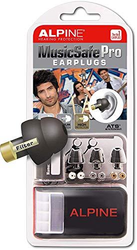 Alpine MusicSafe Pro Ohrstöpsel - Werte dein Musikerlebnis auf ohne Hörschäden zu riskieren - Drei austauschbare Filtersets - Bequemes hypoallergenes Material - Wiederverwendbare Ohrstöpsel - Schwarz
