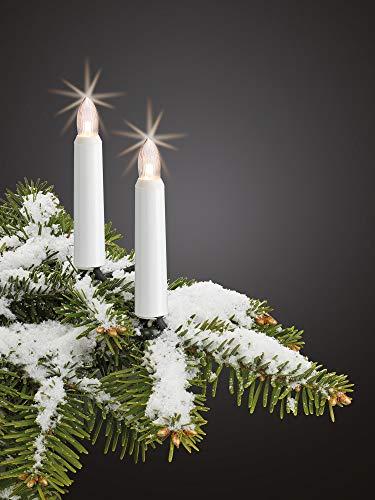 Hellum Lichterkette außen / 20 LED warm-weiß Riffelkerzen/Länge 19 m + 2x1,5 m Zuleitung, schwarzes Gummi-Kabel/Fassungsabstand 100 cm/teilbarer Stecker/Weihnachten / 842043