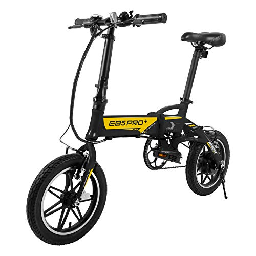 Swagtron SWAGCYCLE EB5 Plus Folding Electric Bike with Removable Battery   City eBike with Pedals & Swappable 36V Battery   14†Wheels, 250W Motor, Built-in Carry Handle, Black