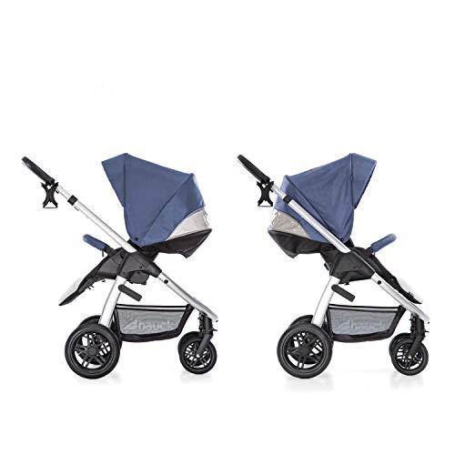 Hauck Saturn R Duoset All-Terrain Sportwagen + Beindecke + Babywanne, drehbar, bis 25 kg, Getränkehalter, höhenverstellbar, kompakt faltbar, kompatibel mit Babyschale, blau silber