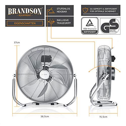 Brandson - Windmaschine Retro Stil - Ventilator in Chrom - Standventilator 30cm - Bodenventilator - hoher Luftdurchsatz - robuster Stand - stufenlos neigbarer Ventilatorkopf - silber