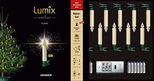 Lumix Superlight Flame Kabellose LED Christbaumkerze, Kunststoff, Elfenbein, 9 cm