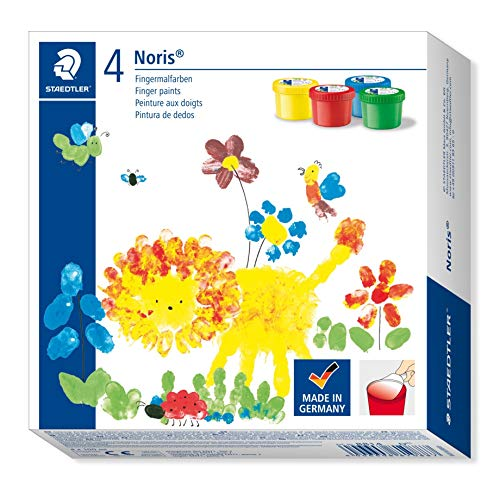 Staedtler 8814 - Noris Club Fingermalfarbe Mali 4 Kunststoff-Töpfchen à 100 ml
