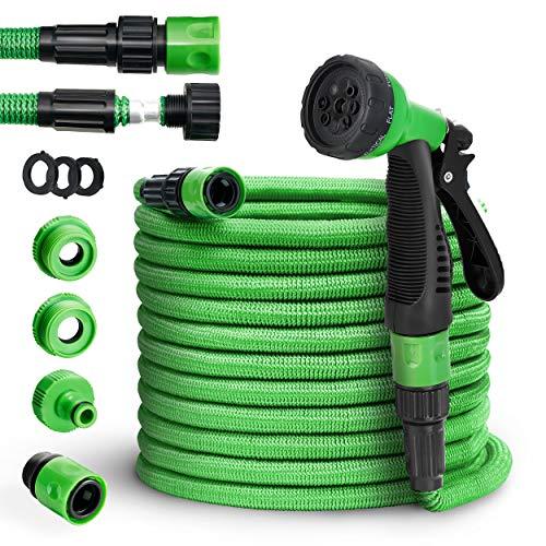 tillvex flexiSchlauch - Flexibler Gartenschlauch 7.5m ausgedehnt, Testurteil GUT, verbesserte Version 2019, Wasserschlauch flexibel, Gartenteichschlauch dehnbar, grün